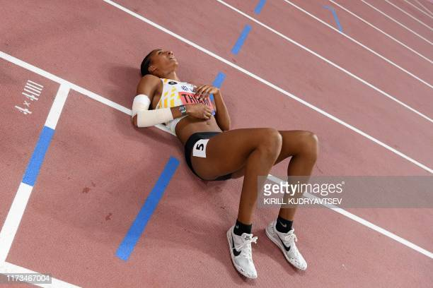 Belgium's Nafissatou Thiam reacts after the Women's 800m Heptathlon final at the 2019 IAAF Athletics World Championships at the Khalifa International...