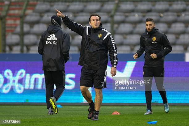 Belgium's national football team head coach Marc Wilmots gestures during a training session on November 16 2015 in Brussels on the eve of an UEFA...