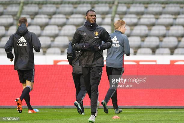 Belgium's national football team player Christian Benteke attends a training session on November 16 2015 in Brussels on the eve of an UEFA Euro 2016...