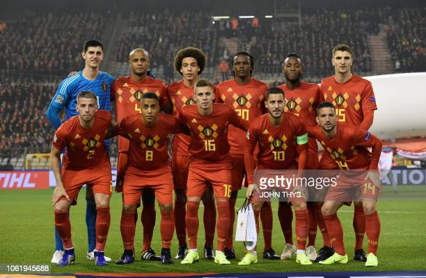Belgium's national football team players pose before kick off of the UEFA Nations League football match between Belgium and Iceland at the King...