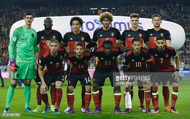 Belgium's national football team players pose for a picture ahead of the Fifa WC 2018 football qualification football match between Belgium and...