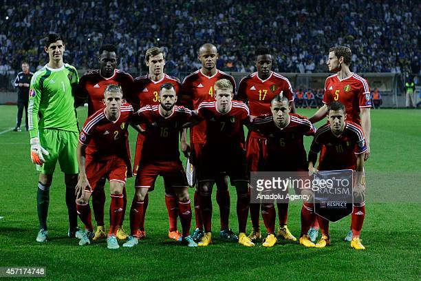 Belgium's national soccer team players pose for a team photo ahead of the UEFA Euro 2016 Group B qualifying soccer match between Bosnia and...