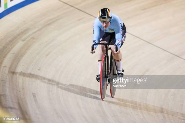 Belgium's Nicky Degrendele takes part in a qualifying round for the women's sprint during the UCI Track Cycling World Championships in Apeldoorn on...