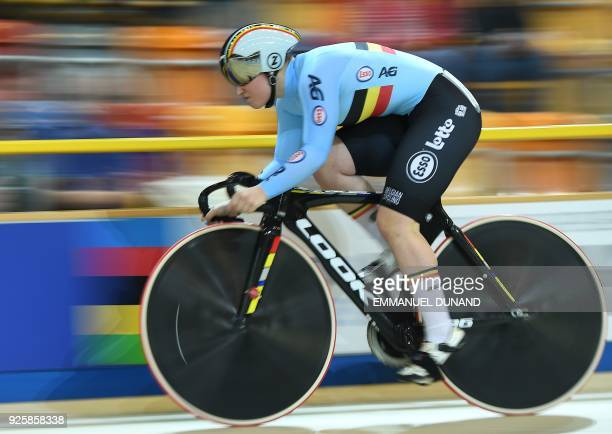Belgium's Nicky Degrendele takes part in the qualifying round for the women's sprint during the UCI Track Cycling World Championships in Apeldoorn on...