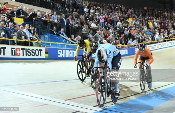 Belgium's Nicky Degrendele wins the women's keirin final during the UCI Track Cycling World Championships in Apeldoorn on March 4 2018 / AFP PHOTO /...