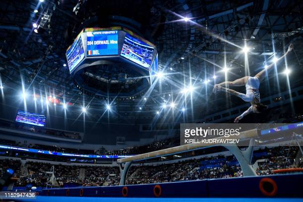 TOPSHOT Belgium's Nina Derwael competes in the balance beam event of the women's apparatus final of the Artistic Gymnastics at the 2019 European...