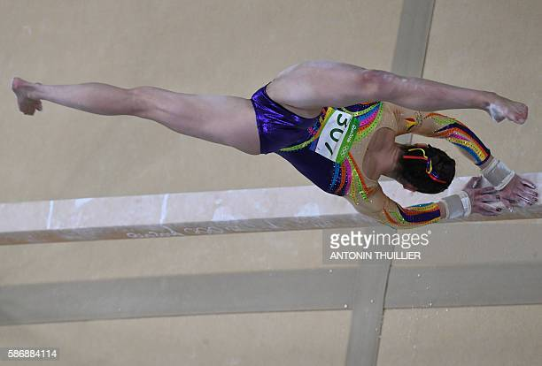 Belgium's Nina Derwael competes in the qualifying for the women's Beam event of the Artistic Gymnastics at the Olympic Arena during the Rio 2016...