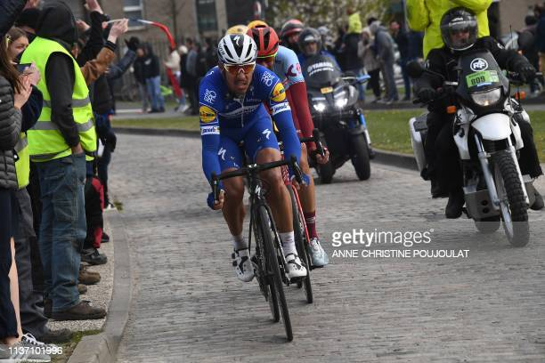 Belgium's Philippe Gilbert competes during the 117th edition of the ParisRoubaix oneday classic cycling race between Compiegne and Roubaix in Roubaix...