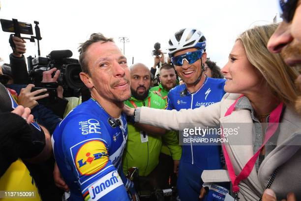 Belgium's Philippe Gilbert reacts after winning the 117th edition of the Paris-Roubaix one-day classic cycling race, between Compiegne and Roubaix,...