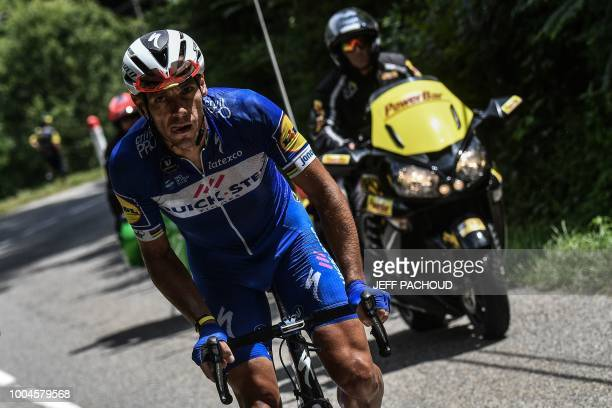 Belgium's Philippe Gilbert rides in the ascent of the Col de Portetd'Aspet pass during his oneman breakaway in the 16th stage of the 105th edition of...