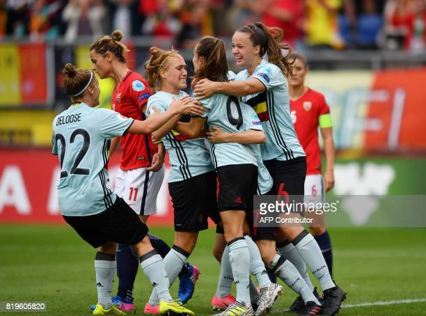 Belgium's players a goal during the UEFA Women's Euro 2017 football match between Norway and Belgium at the Rat Verlegh Stadium in Breda on July 20...