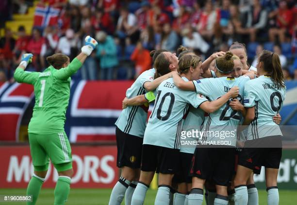 Belgium's players celebrate after scoring the 20 goal against Norway during the UEFA Women's Euro 2017 football match between Norway and Belgium at...