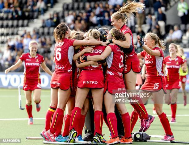 Belgium's players celebrate after winning the Women's Rabo EuroHockey Championships field hockey match between Germany and Belgium in Amstelveen on...