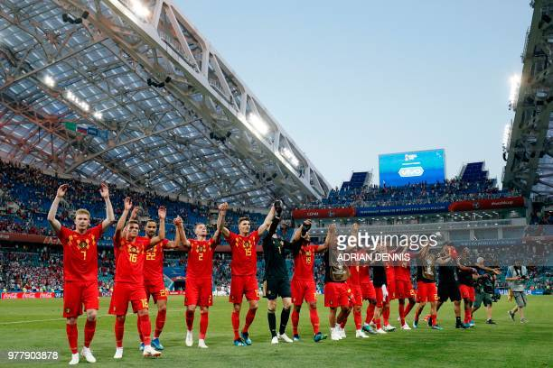 Belgium's players celebrate at the end of the Russia 2018 World Cup Group G football match between Belgium and Panama at the Fisht Stadium in Sochi...