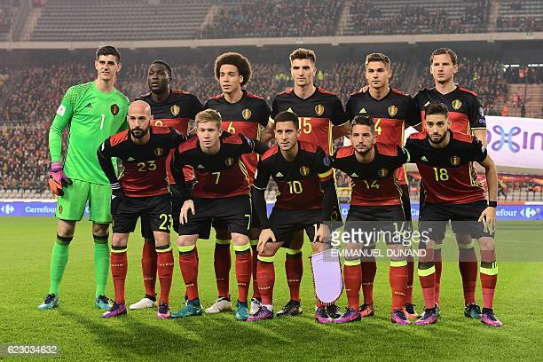 Belgium's players pose for a picture prior to the World Cup 2018 football qualification match between Belgium and Estonia on November 13 2016 at the...