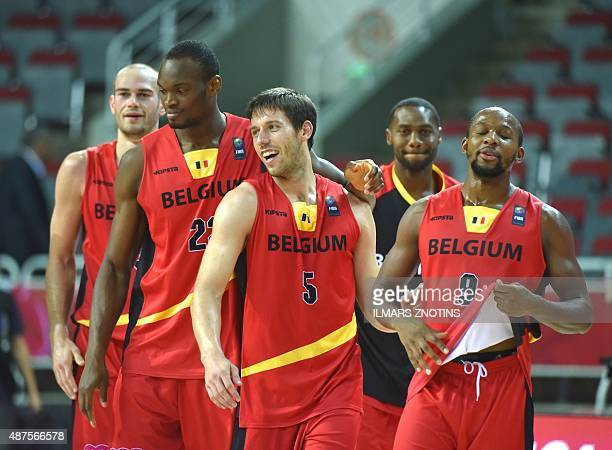 Belgium's players react after winning during the Eurobasket 2015 group D basketball match Ukraine vs Belgium in Riga on September 10 2015 AFP PHOTO /...