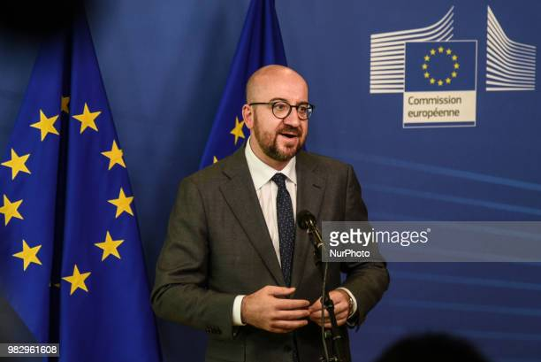 Belgium's Prime Minister Charles Michel addresses media representatives after an informal summit at the EU Commission in Brussels on June 24 2018 The...