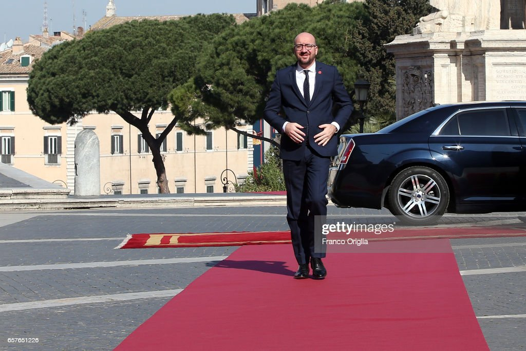 Belgium's Prime Minister Charles Michel arrives at the Capitole Hill ahead of a special summit of EU leaders to mark the 60th anniversary of the bloc's founding Treaty of Rome on March 25, 2017 in Rome, Italy. The 60th anniversary of the signing of the treaties creating the European Economic Community and the European Atomic Energy Community the first major structural steps toward creating the European Union.