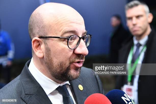 Belgium's Prime Minister Charles Michel arrives to attend an EU summit at which 27 European leaders are to approve opening the next phase of Brexit...