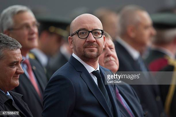Belgium's Prime Minister Charles Michel looks on during the Belgian federal government ceremony to commemorate the bicentenary of the Battle of...