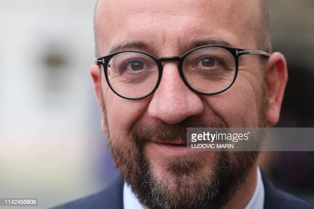 Belgium's Prime Minister Charles Michel speaks during a press conference at the end of an EU summit in Sibiu central Romania on May 9 2019 European...