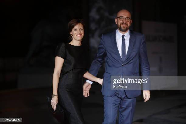 Belgium's Prime President Minister Charles Michel and his wife Amelie Derbaudrenghien attend a state diner and a visit of the Picasso exhibition as...