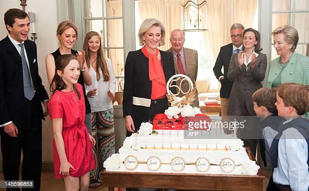 Belgium's Prince Amedeo Princess Laetitia Maria Princess Maria Laura Princess Luisa Maria Princess Astrid of Belgium King Albert II of Belgium Prince...