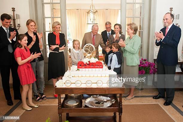 Belgium's Prince Amedeo, Princess Laetitia Maria, Princess Maria Laura, Princess Astrid of Belgium, Princess Louise, King Albert II of Belgium,...