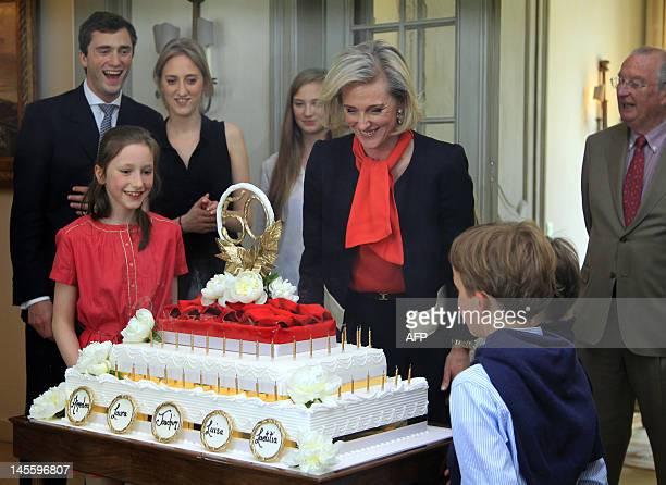 Belgium's Prince Amedeo, Princess Maria Laura, Princess Laetitia Maria, Princess Louise, Princess Astrid, King Albert II, Prince Nicolas and Prince...