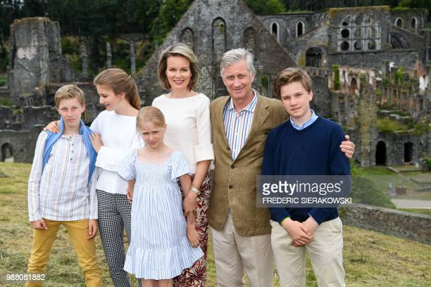 TOPSHOT Belgium's Prince Emmanuel Crown Princess Elisabeth Princess Eleonore Queen Mathilde of Belgium King Philippe Filip of Belgium Prince Gabriel...