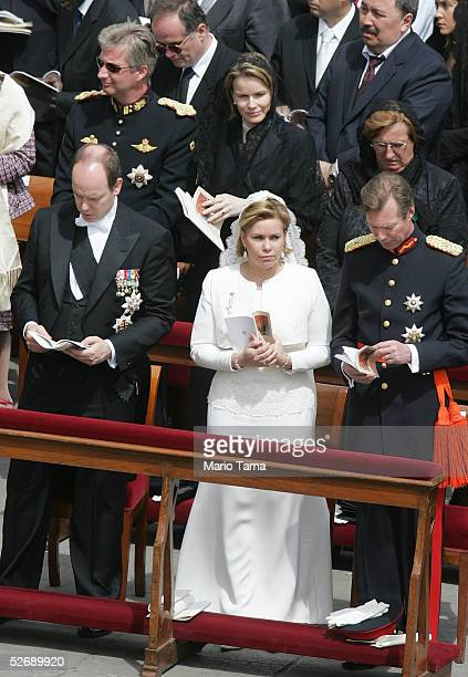 Belgium's Prince Philippe and Princess Mathilde along with Prince Albert of Monaco Luxembourg Grand Duchess Maria Teresa and Grand Duke Henri attend...