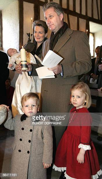 Belgium's Prince Philippe and Princess Mathilde and their children Princess Elisabeth Prince Gabriel and Prince Emmanuel are pictured during the...