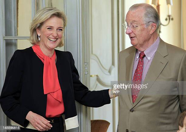 Belgium's Princess Astrid and her father King Albert II smile during the celebrations for the 50th anniversary of Princess Astrid born on 05 June...