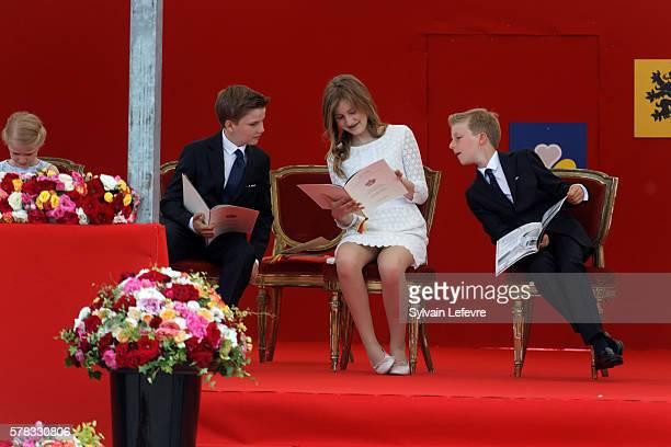 Belgium's Princess Eleonore Prince Gabriel Crown Princess Elisabeth Prince Emmanuel of Belgium attend the Military Parade to celebrate Belgium's...