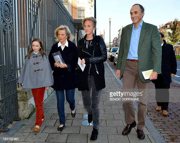 Belgium's Princess Laetitia Maria Princess Astrid of Belgium Princess Maria Laura and Prince Lorenz of Belgium arrive at a polling station in...