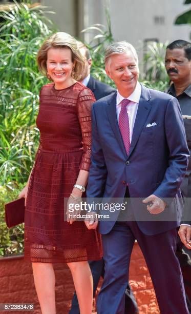 Belgium's Queen Mathilde and King Philippe during an event at the Raj Bhavan on November 8 2017 in Mumbai India Their Majesties King Philippe and...