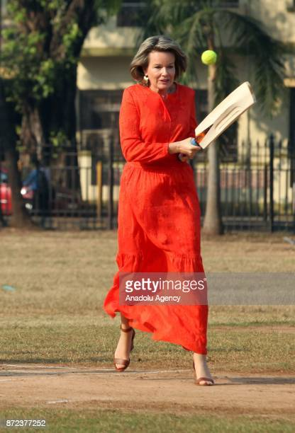 Belgium's Queen Mathilde King gestures as she leaves after playing cricket with children at a ground in Mumbai India November 10 2017