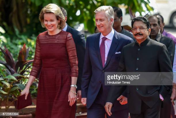Belgium's Queen Mathilde King Philippe and Governor of Maharashtra Ch Vidyasagar Rao during an event at the Raj Bhavan on November 8 2017 in Mumbai...
