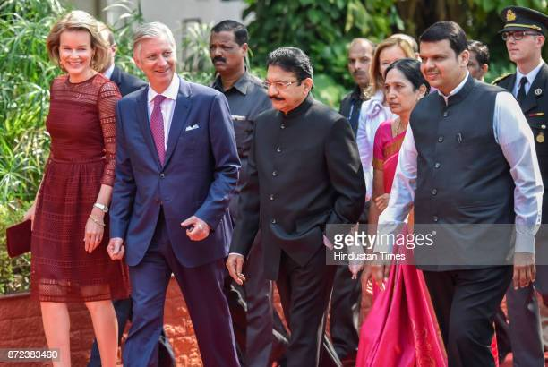 Belgium's Queen Mathilde King Philippe Governor of Maharashtra Ch Vidyasagar Rao with his wife Vinodha and Chief Minister of Maharashtra Devendra...