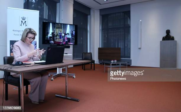 CET Belgium's Queen Mathilde talks to journalists during a virtual interview on the occasion of the 20th anniversary of Queen Mathilde Foundation in...