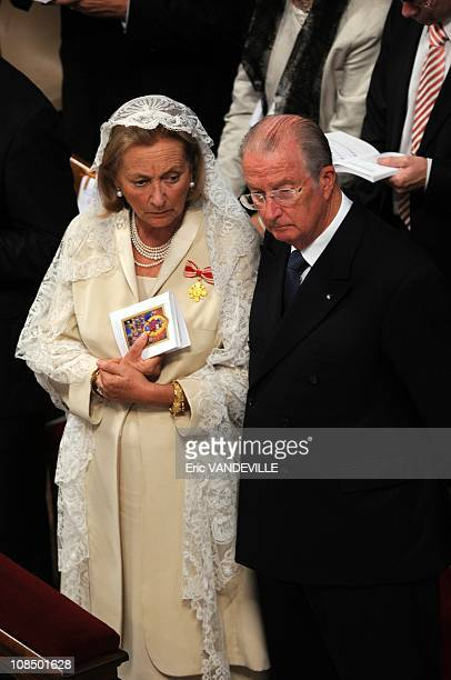 Belgium's Queen Paola and King Albert II in Vatican city on October 11 2009 Pope Benedict XVI canonized five new saints during a ceremony in Saint...