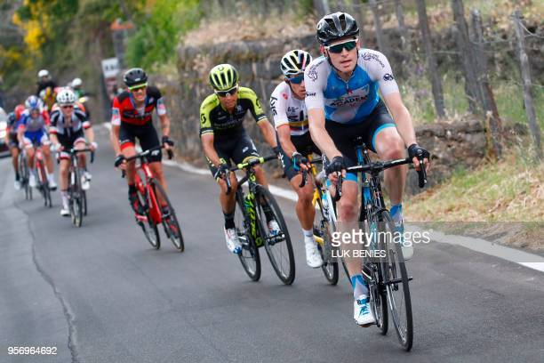 Belgium's rider of team Israel Cycling Academy Ben Hermans leads a group of riders during the 6th stage between Caltanissetta and the Mount Etna...