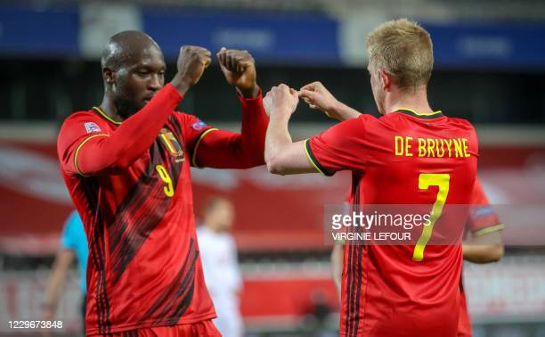 Belgium's Romelu Lukaku and Belgium's Kevin De Bruyne celebrate after scoring during a soccer game between the Belgian national team Red Devils and...