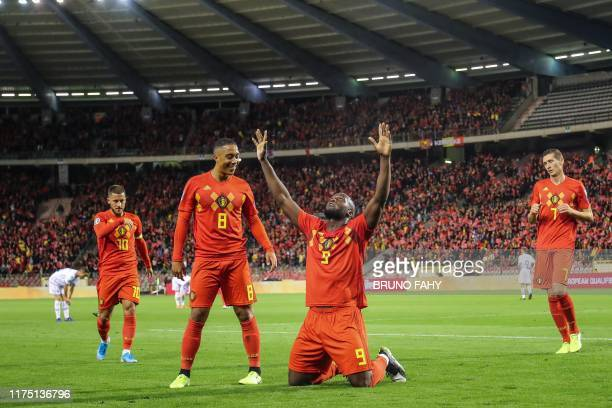 TOPSHOT Belgium's Romelu Lukaku celebrates after scoring a goal during the Euro 2020 qualifier group I football game between Belgium and San Marino...