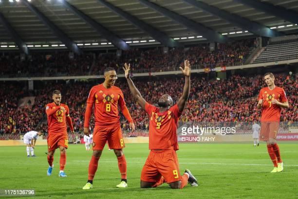 Belgium's Romelu Lukaku celebrates after scoring a goal during the Euro 2020 qualifier group I football game between Belgium and San Marino on...