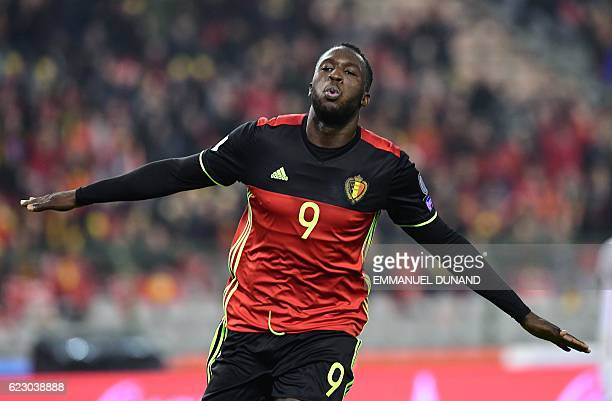 Belgium's Romelu Lukaku celebrates after scoring a goal during the World Cup 2018 football qualification match between Belgium and Estonia on...