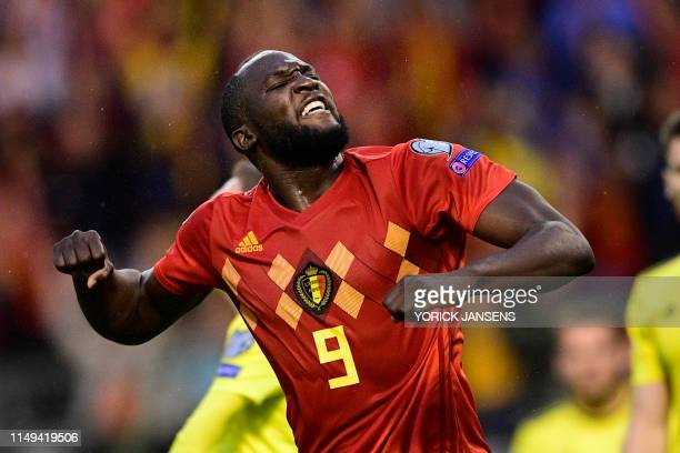 Belgium's Romelu Lukaku celebrates after scoring during a soccer game between Belgian national team the Red Devils and Scotland, Tuesday 11 June 2019...