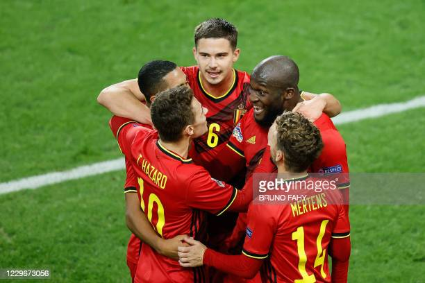 Belgium's Romelu Lukaku celebrates after scoring during a soccer game between the Belgian national team Red Devils and Denmark, Wednesday 18 November...