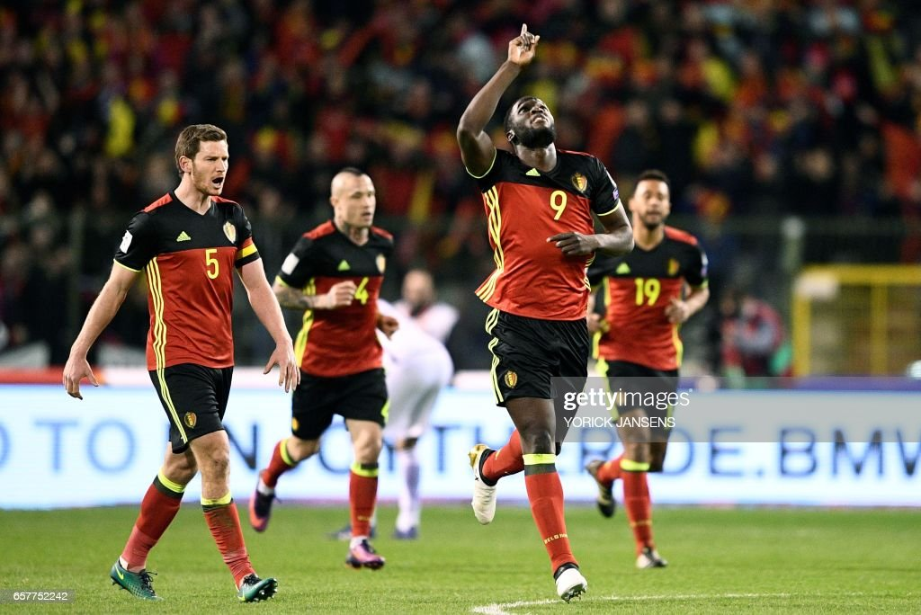 Belgium's Romelu Lukaku celebrates after scoring during the FIFA World Cup 2018 qualification football match between Belgium and Greece, at the King Baudouin Stadium, on March 25, 2017 in Brussels. /