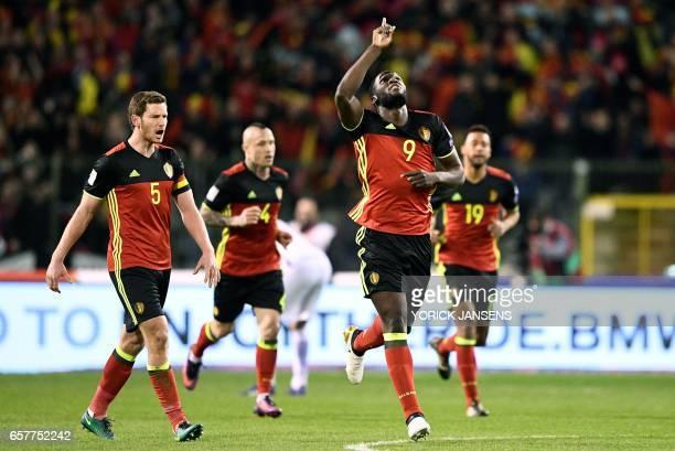 Belgium's Romelu Lukaku celebrates after scoring during the FIFA World Cup 2018 qualification football match between Belgium and Greece at the King...